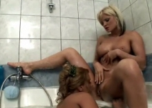 Lesbians with big tits in the shower