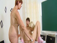 Threesome of lesbians at school